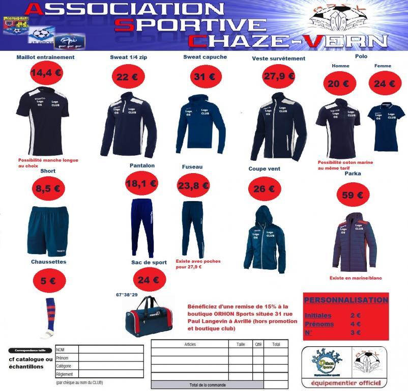 Boutique club saison 2017 2018 ascv