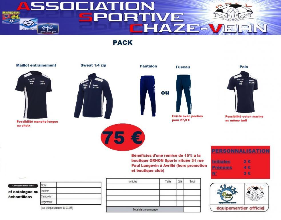 Pack club saison 2017 2018 ascv