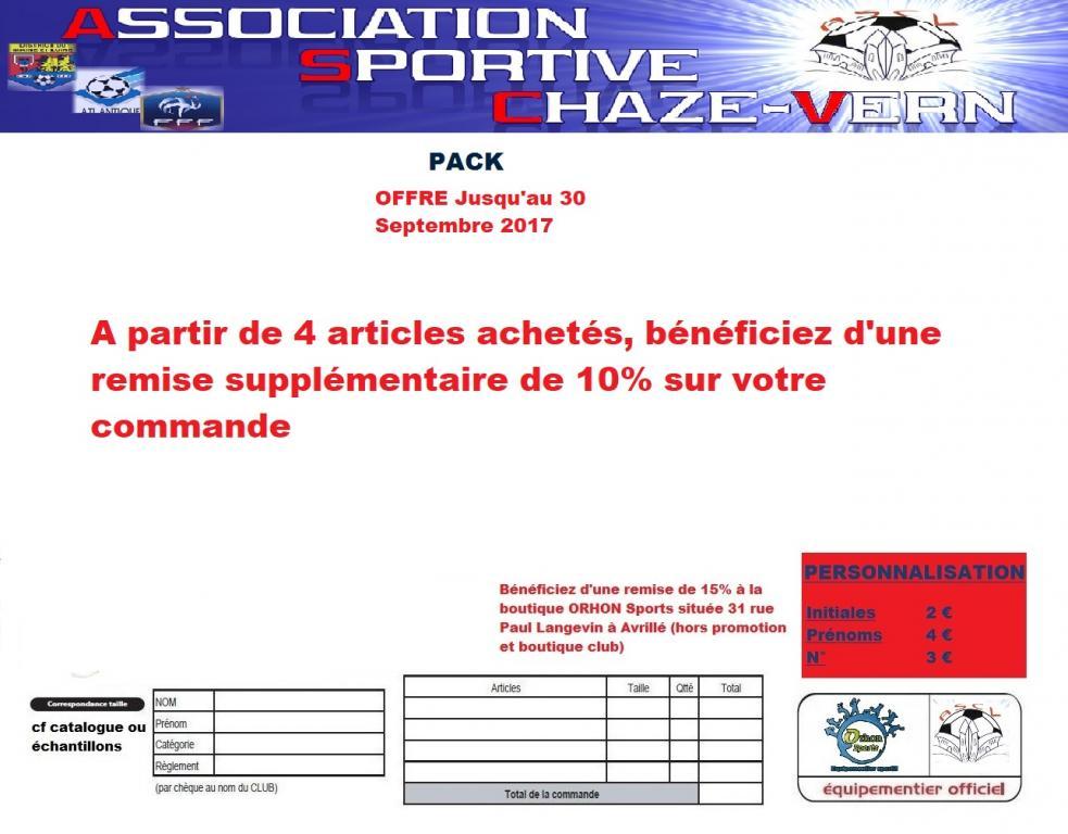 Pack offre club saison 2017 2018 ascv
